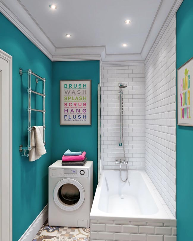 Бирюзовый цвет для маленькой ванной комнаты0