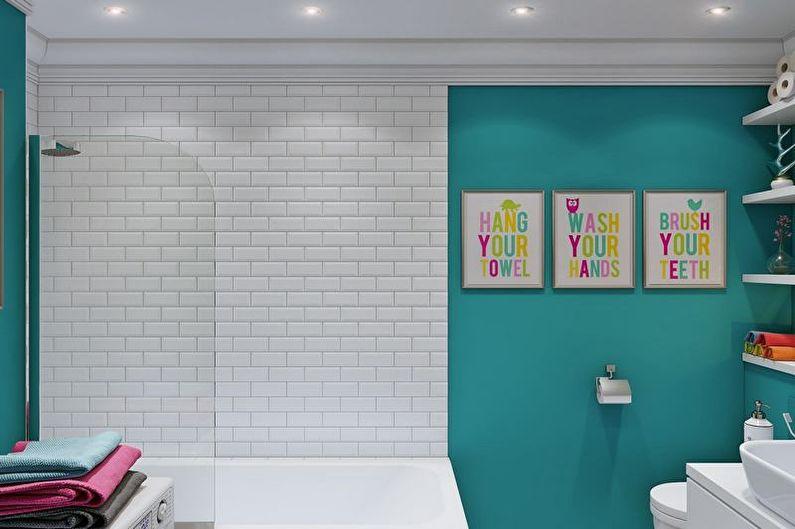 Бирюзовый цвет для маленькой ванной комнаты1