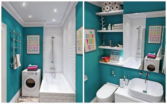 Бирюзовый цвет для маленькой ванной комнаты2