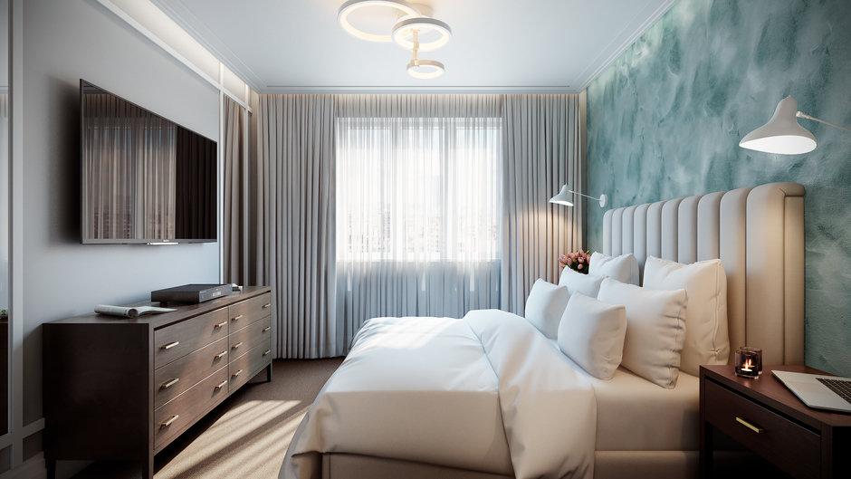 Cпальня 17 кв.м дизайн: цвет, кровать, декор3