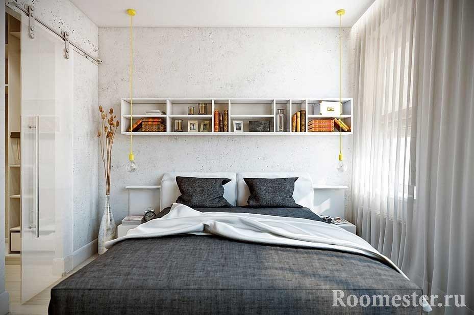 Cпальня 17 кв.м дизайн: цвет, кровать, декор6