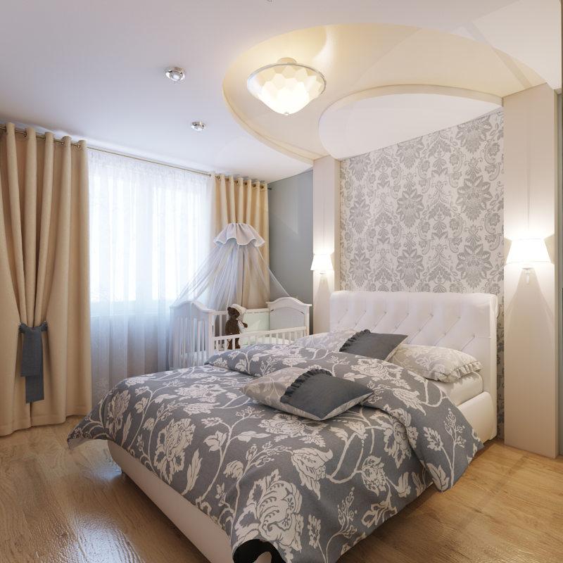 Cпальня 17 кв.м дизайн: цвет, кровать, декор7