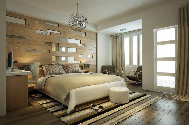 Cпальня 17 кв.м дизайн: цвет, кровать, декор0