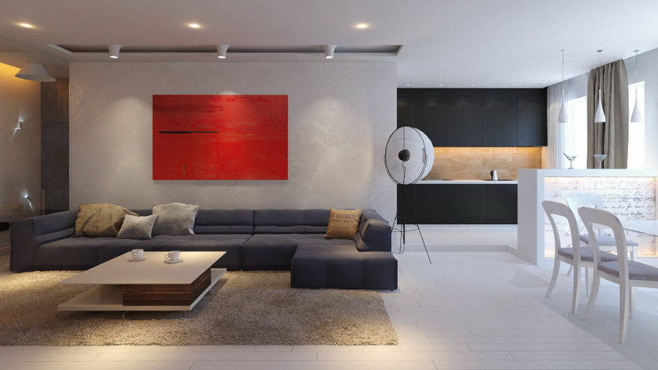 Дизайн гостиной в минимализме6
