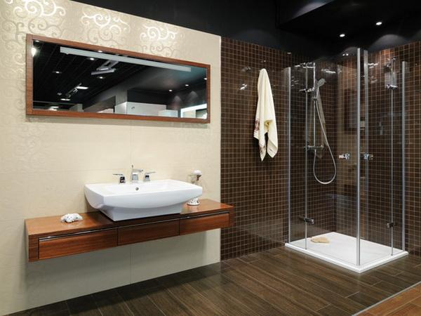 Дизайн и интерьер ванной комнаты с душевой кабиной0