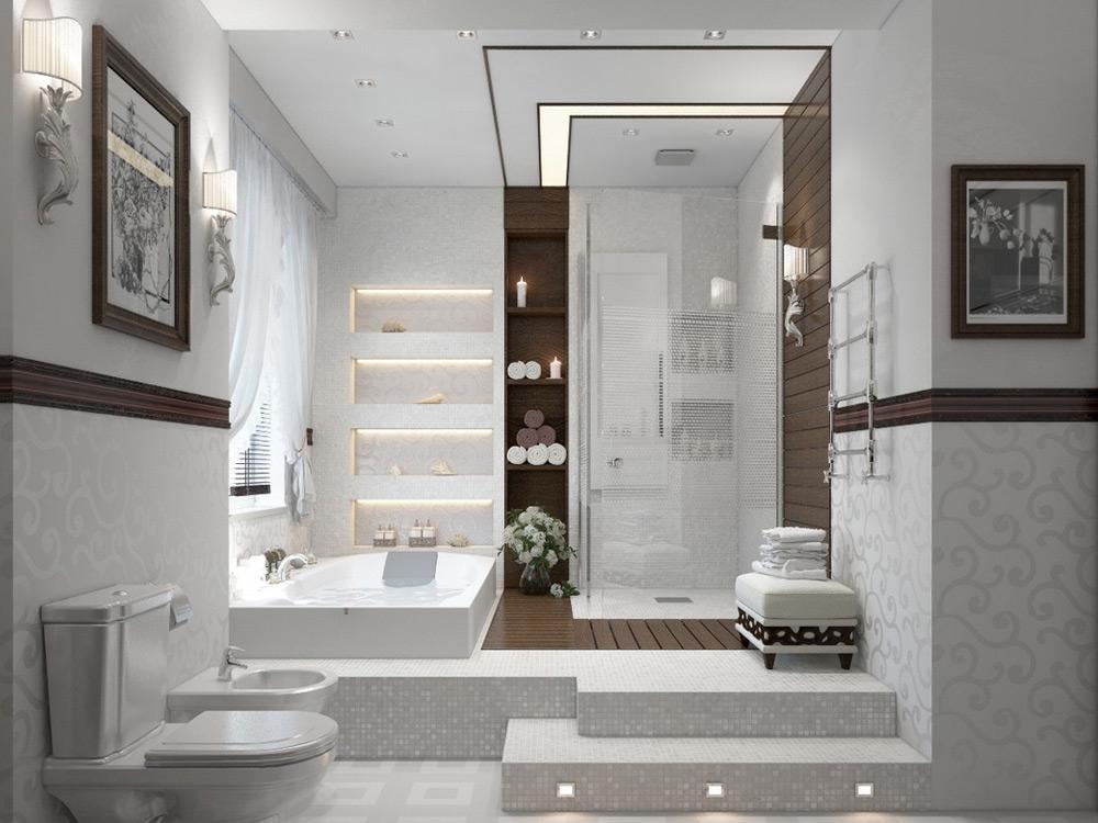 Дизайн и интерьер ванной комнаты с душевой кабиной1