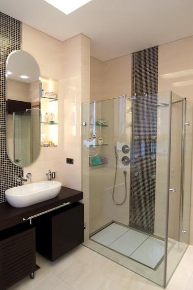 Дизайн и интерьер ванной комнаты с душевой кабиной3