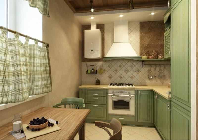 Дизайн кухни с газовой колонкой0