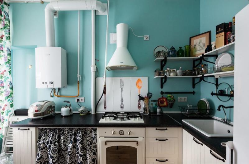 Дизайн кухни с газовой колонкой1