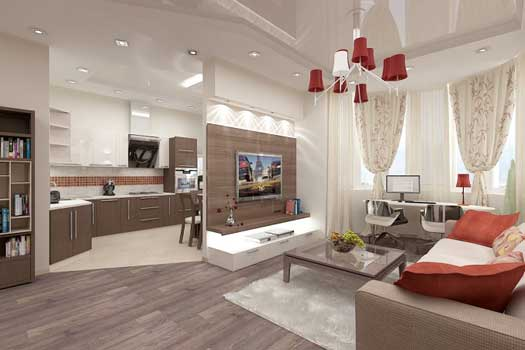 Дизайн объединенной кухни гостиной1