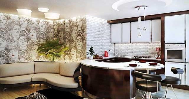 Дизайн объединенной кухни гостиной2