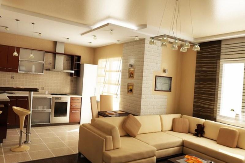 Дизайн объединенной кухни гостиной4