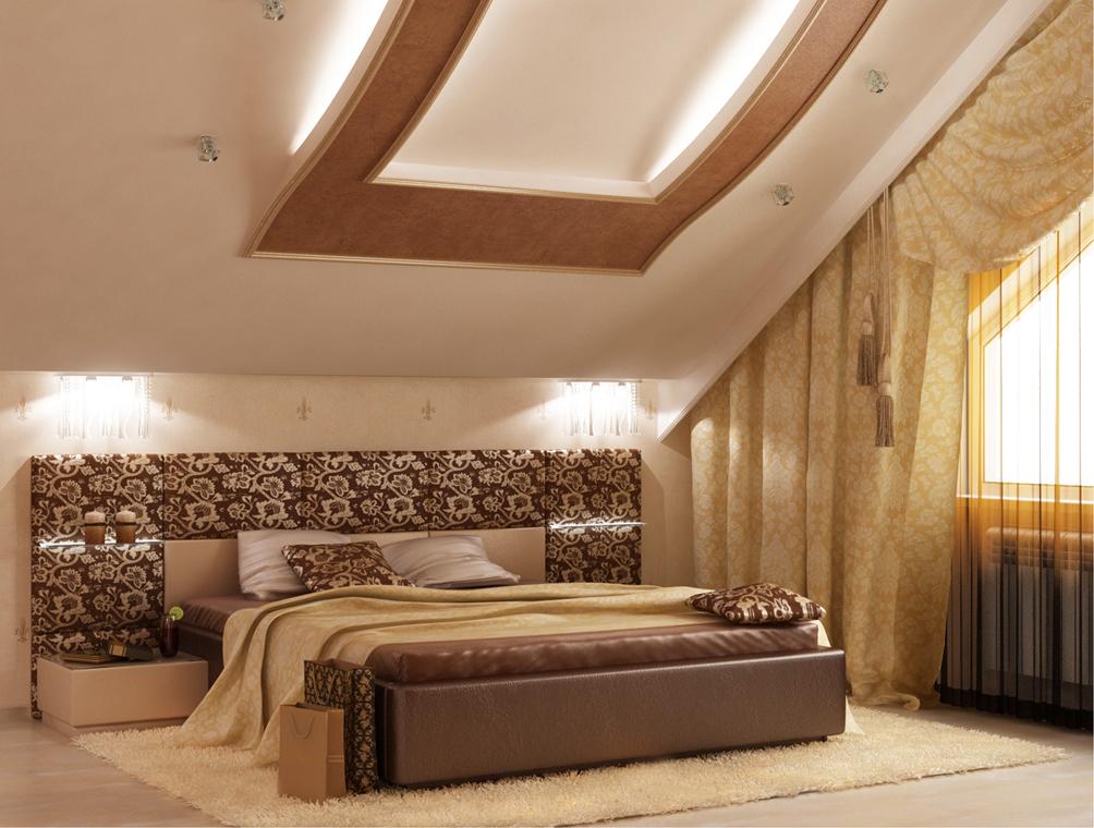 Дизайн спальни на мансардном этаже: правила оформления2