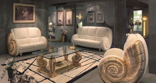 Дизайн вместительной гостиной в стиле неоклассика0