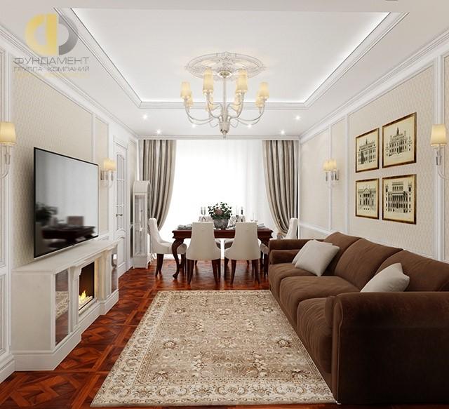 Дизайн вместительной гостиной в стиле неоклассика2