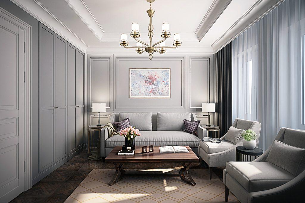 Дизайн вместительной гостиной в стиле неоклассика4