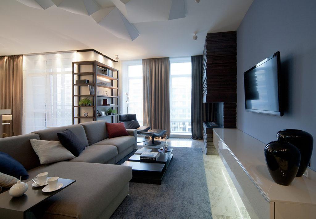 Дизайн зала по всем правилам в доме2