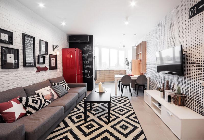 Дизайн зала по всем правилам в доме3