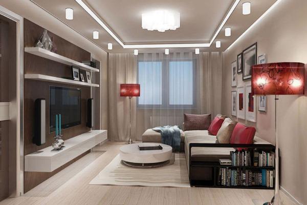 Дизайн зала по всем правилам в доме5