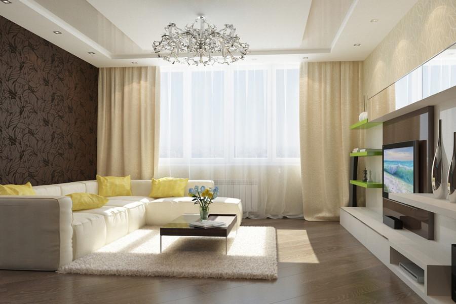 Дизайн зала по всем правилам в доме6