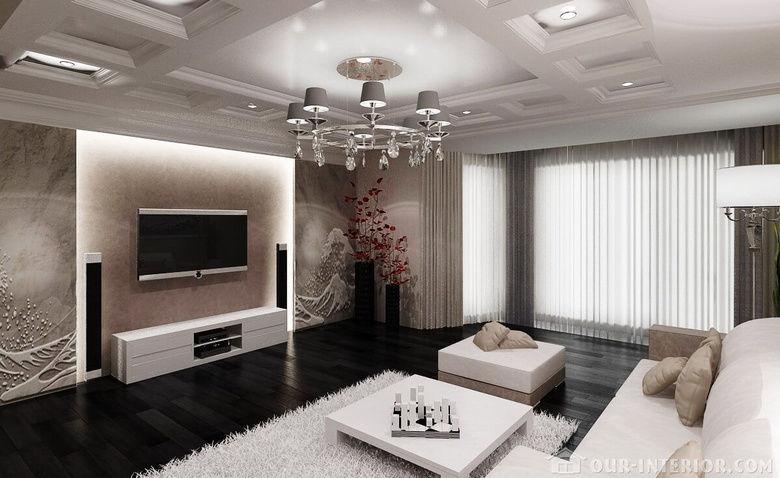 Дизайн зала по всем правилам в доме7