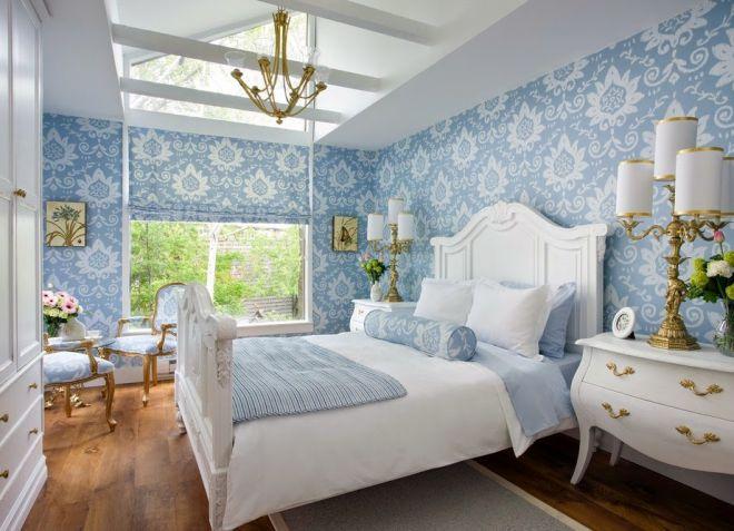 Голубые обои для спальни: идеи для интерьера3