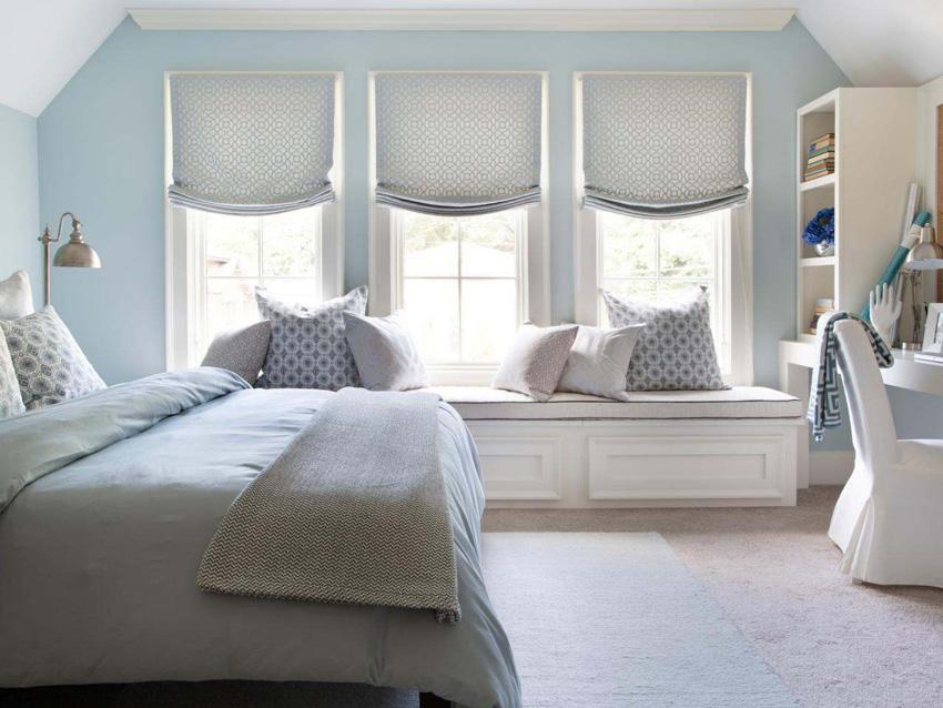 Голубые обои для спальни: идеи для интерьера4