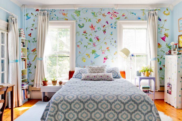 Голубые обои для спальни: идеи для интерьера5