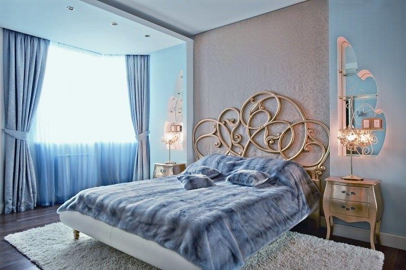 Голубые обои для спальни: идеи для интерьера6