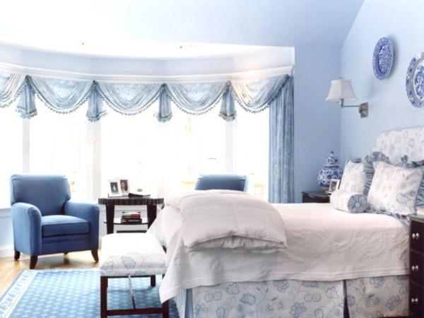 Голубые обои для спальни: идеи для интерьера0