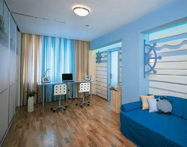 Голубые обои: какие шторы под них выбрать1