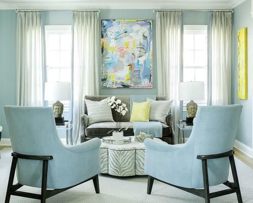 Голубые обои: какие шторы под них выбрать3