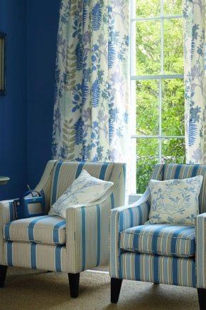 Голубые обои: какие шторы под них выбрать5