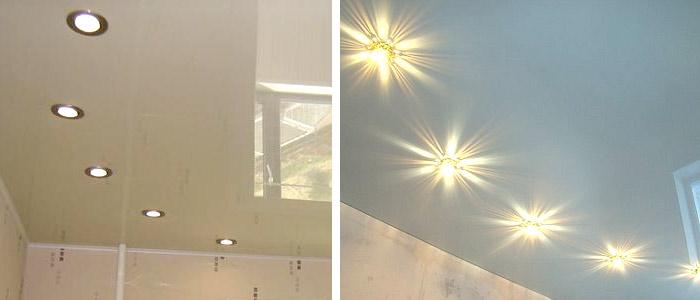 Идеи расположения светильников на натяжном потолке1