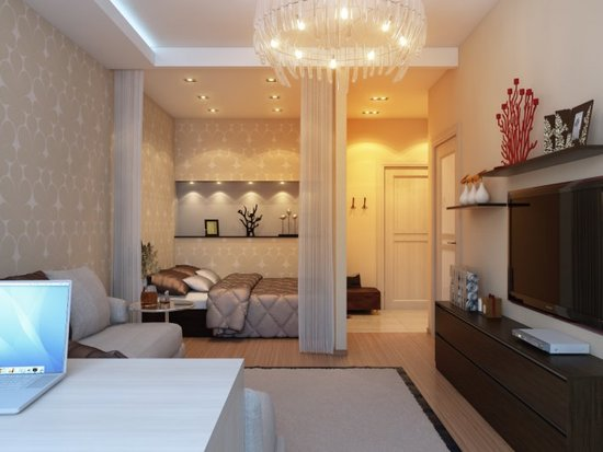 Интерьер комнаты с нишей2