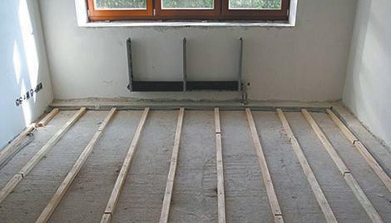 Как к бетонному полу произвести крепление лаг?1