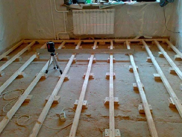Как к бетонному полу произвести крепление лаг?3