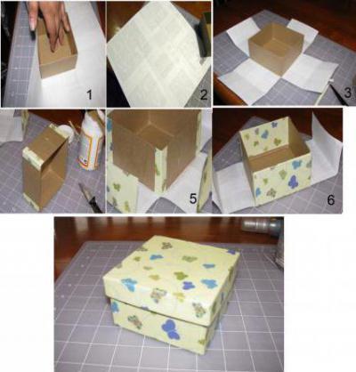 Как обклеить коробку обоями5