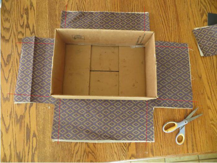 Как обклеить коробку обоями7