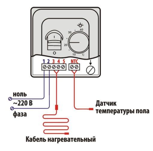 Как подключить инфракрасный обогреватель к терморегулятору2