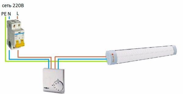 Как подключить инфракрасный обогреватель к терморегулятору7