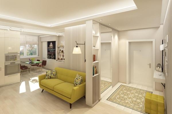 Как выполнить зонирование прихожей и гостиной: приемы работы1