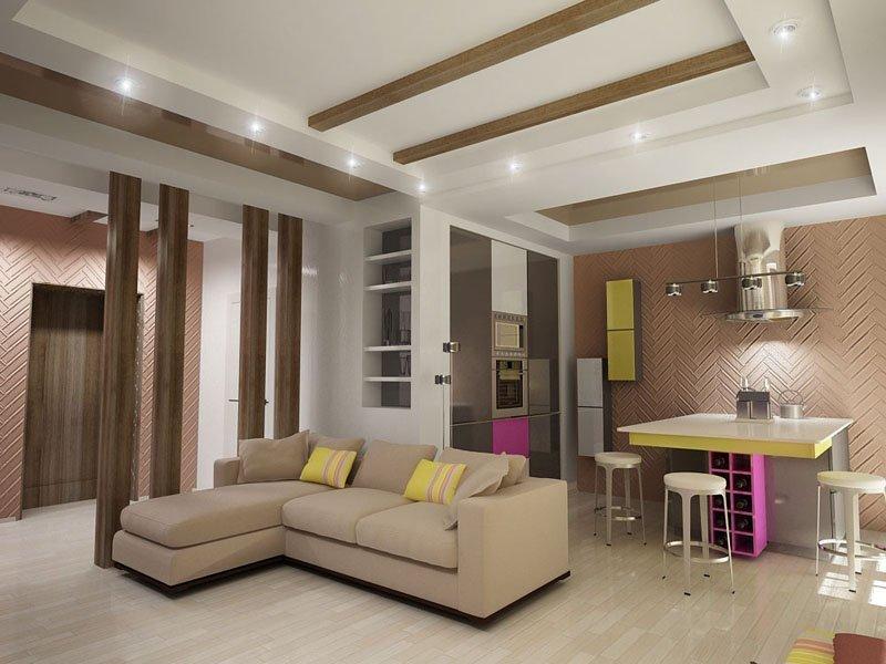 Как выполнить зонирование прихожей и гостиной: приемы работы3