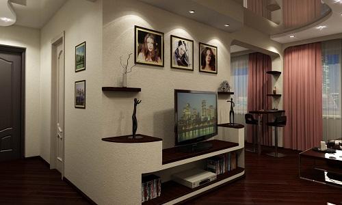 Как выполнить зонирование прихожей и гостиной: приемы работы6