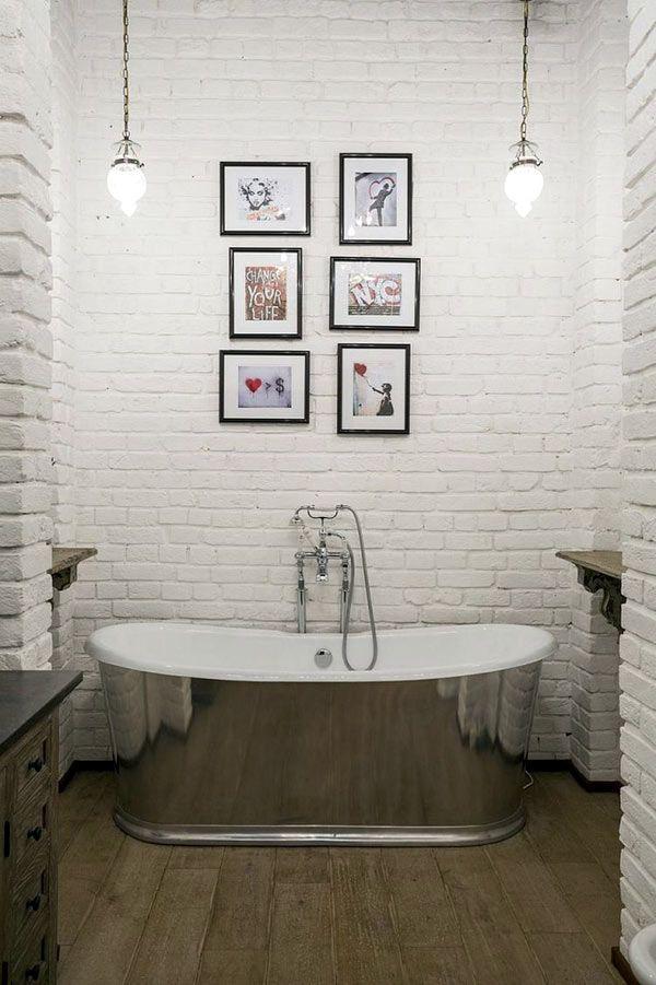Кирпичная стена в дизайне интерьера ванной комнаты0