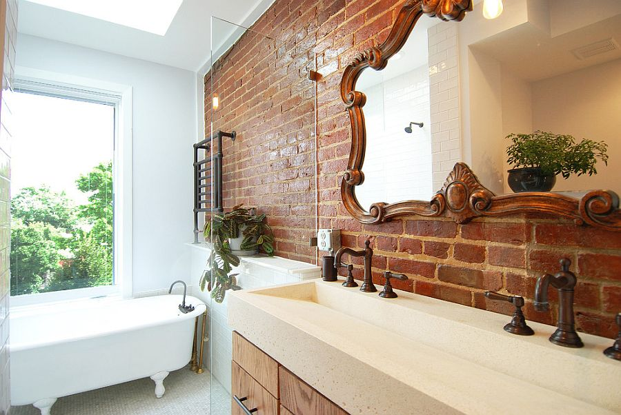 Кирпичная стена в дизайне интерьера ванной комнаты2