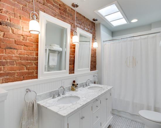 Кирпичная стена в дизайне интерьера ванной комнаты3