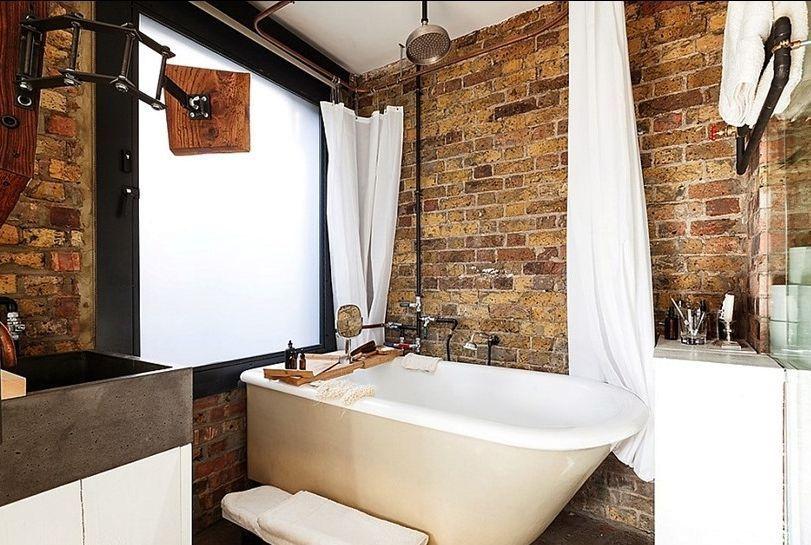 Кирпичная стена в дизайне интерьера ванной комнаты6
