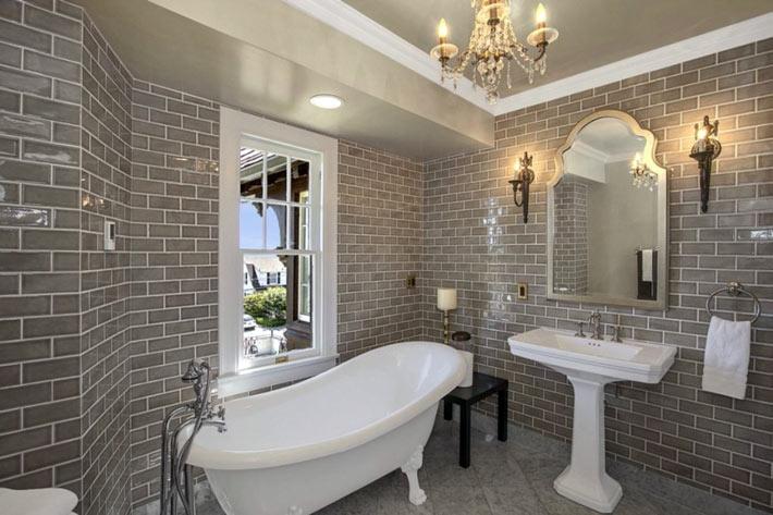 Кирпичная стена в дизайне интерьера ванной комнаты7