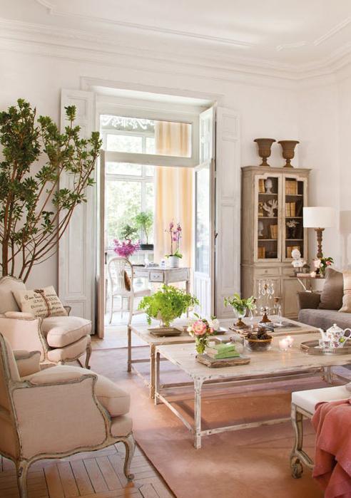 Красивая гостиная комната с налетом винтажности (дизайнер isabel flores)0